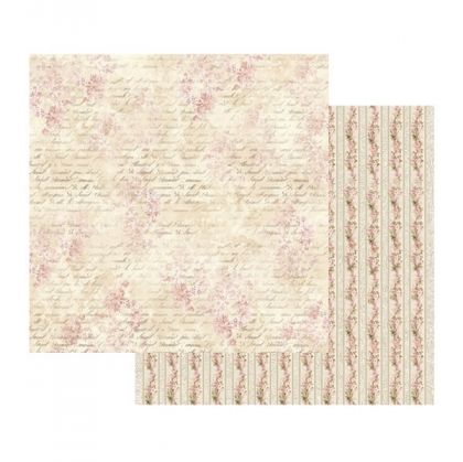 Hartie scrapbooking 30.5x30.5cm - Pink Buttercup with writing SBB435