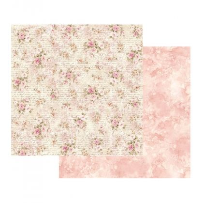 Hartie scrapbooking 30.5x30.5cm - Shabby roses and writing SBB436