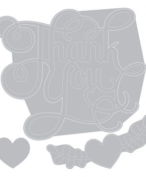 Matrita Sizzix Thinlits - Phrase, Thank You w/Hearts 660370