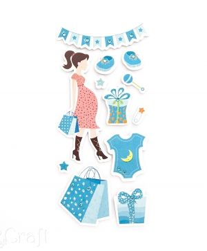 Stickere cu glitter 12 buc. - Mom to be shopping, blue DPNB-029