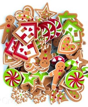 Stickere din foam 60 buc - Gingerbreads & Candies KSPI-369
