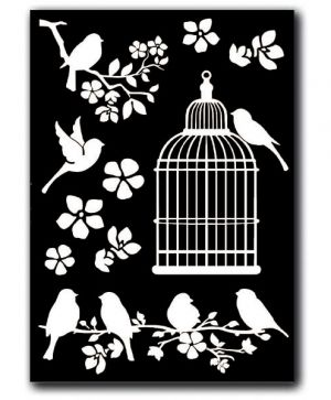 Rub-on sticker A5 - Cage and Birds DFTD02