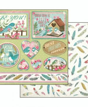 Hartie scrapbooking 30.5x30.5cm -  Fall in love, frames and tags SBB492