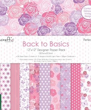 Set cartoane scrapbooking  Back to basics 30,5x30,5cm - Perfectly Pink DCPAP061