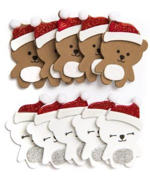Stickere din foam 10 buc - Winter bears KSPI-120