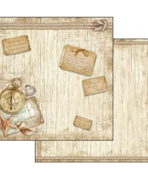 Hartie scrapbooking 30.5x30.5cm - Sea land compass SBB540