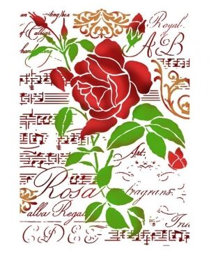 Sablon decorativ din plastic 21x29,7cm - Rose & music KSG419