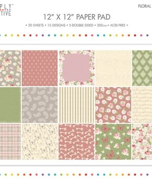 Set cartoane scrapbooking 30,5x30,5cm - Floral Notes SCPAD077
