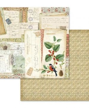 Hartie scrapbooking 30.5x30.5cm - Winter botanic postcards SBB574