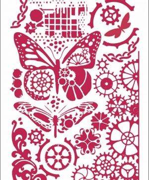 Sablon decorativ din plastic 21x29,7cm - Butterflies and mechanisms KSG421