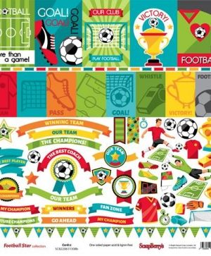 Hartie scrapbooking 30.5x30.5cm - Football Star, Cards 2 SCB220611308B