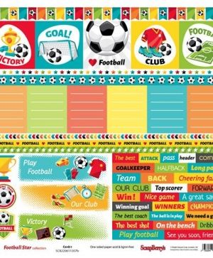 Hartie scrapbooking 30.5x30.5cm - Football Star, Cards 2 SCB220611307B