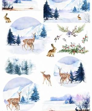 Hartie de orez pentru decoupage A4 - winter views, animals ITD-R1463