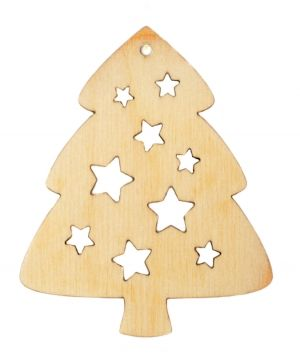 Figurină de Crăciun din lemn - Christmas tree with stars IDEA1760