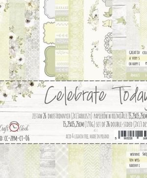 Hartie scrapbooking 15.2x15.2cm, 26 coli - Celebrate Today CC-ZPM-CT-06