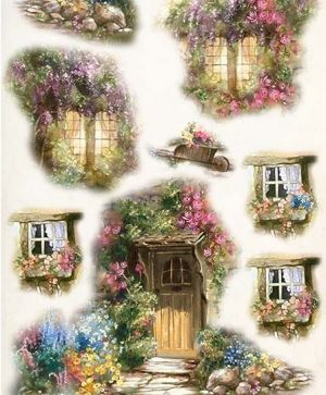 Hartie de orez pentru decoupage A4 - door, window and flowers ITD-R460