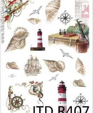 Hartie de orez pentru decoupage A4 - shells and lighthouse ITD-R0407