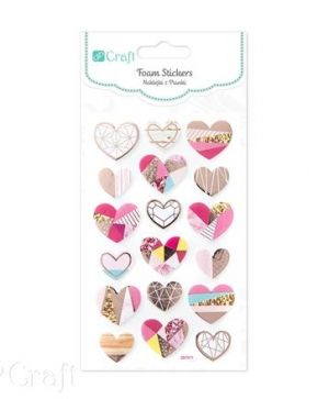 Stickere din foam 18 buc. - Hearts DPPI-018