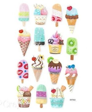 Stickere din foam 15 buc. - Ice cream DPPI-014