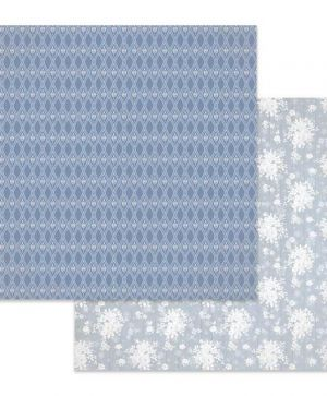 Hartie scrapbooking 30.5x30.5cm - Texture white flowers on light blue background SBB621