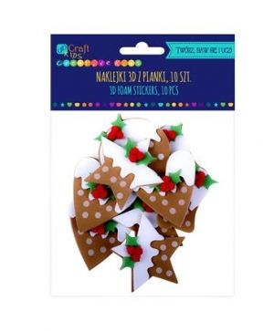 3D Stickere din foam 10 buc. - Gingerbreads with icing KSPI-390