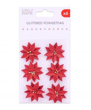 Flori hartie 6 pcs - Glittered Poinsettias SCFLW010X19