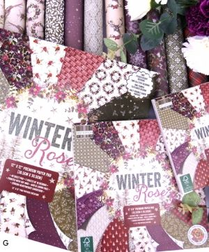 Set cartoane scrapbooking 20,3x20,3cm - Winter Rose FEPAD219X19