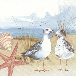 Servețele pentru decupaj 33x33cm, set 20 buc. - SEAGULLS AT THE BEACH L861600