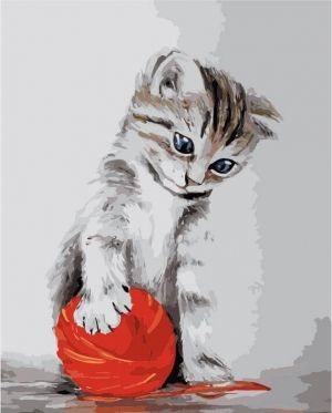 Pictură pe numere 40x50cm - Kitten with a red clew MG2075e