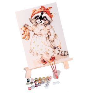 Pictură pe numere 20х30cm - Raccoon and Teddy Bear MC1075e
