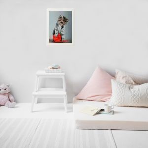 Picturi cu diamante 40x50cm - Kitten with a red clew LG012e