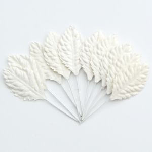 Flori hartie 10 buc - White leaves MKX-450