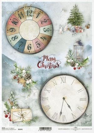 Hartie de orez pentru decoupage A4 - Christmas tree, clocks and lantern ITD-R1641