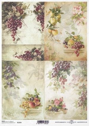 Hartie de orez pentru decoupage A4 - Grapes, plums, peaches, apples ITD-R1264