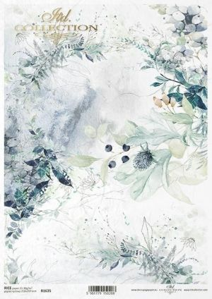 Hartie de orez pentru decoupage A4 - Floral compositions, leaves, plants, wild fruit, watercolor ITD-R1635