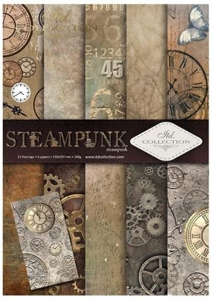 Set cartoane scrapbooking A4 5 coli -  Steampunk ITD-SCRAP-043