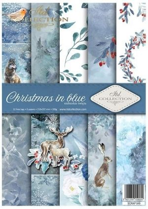 Set cartoane scrapbooking A4 5 coli -  Christmas in blue ITD-SCRAP-049