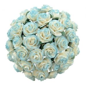 Flori hartie 5 buc - Pink-2-TONE LIGHT TURQUOISE MULBERRY PAPER OPEN ROSES  MKX-644