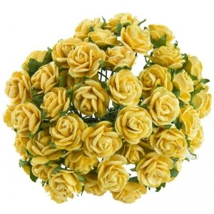 Flori hartie 10 buc - YELLOW MULBERRY PAPER OPEN ROSES MKX-530-1