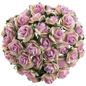 Flori hartie 10 buc - 2-TONE BABY PINK WITH PINK CENTRE MULBERRY PAPER OPEN ROSES MKX-010