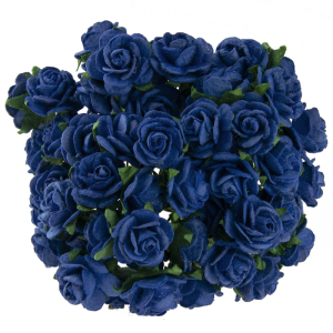 Flori hartie 5 buc - Pink- ROYAL BLUE MULBERRY PAPER OPEN ROSES MKX-023-1