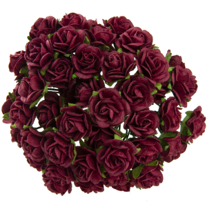 Flori hartie 5 buc - Pink- DEEP RED MULBERRY PAPER OPEN ROSES MKX-002