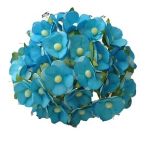 Flori hartie 10 buc - 2-TONED TURQUOISE MULBERRY PAPER SWEETHEART BLOSSOM FLOWERS MKX-200