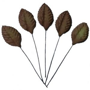 Flori hartie 10 buc - BROWN MULBERRY PAPER LEAVES MKX-555