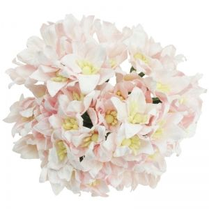 Flori hartie 5 buc - LIGHT PINK MULBERRY PAPER LILY FLOWERS MKX-136