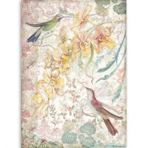 Hartie de orez pentru decoupage A4 - Yellow orchids and birds DFSA4510