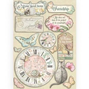 Elemente de decorare Chipboard A5, 14.8x21 cm - Clock and labels KLSP090