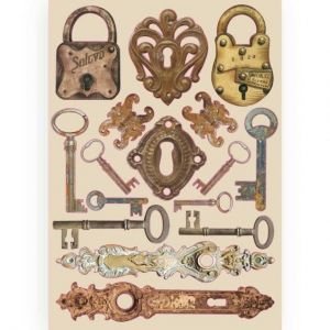 Elemente de decorare Chipboard A5, 14.8x21 cm - Lady Vagabond locks and keys KLSP086