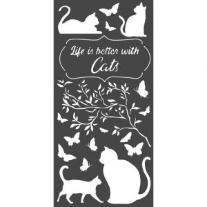 Sablon decorativ din plastic 12x25cm - Life is better with cats KSTDL44