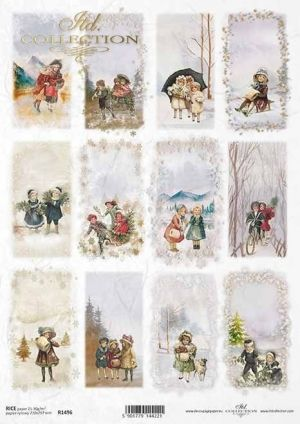 Hartie de orez pentru decoupage A4 - Winter pictures, motifs for candles, bottles ITD-R1496